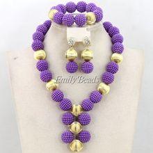 2016 púrpura perlas africanas juegos de joyería nigeriano boda africana del traje nupcial joyería fija el envío gratis AMJ490