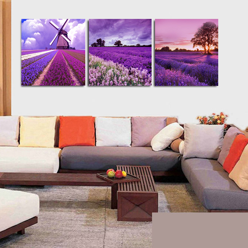 No Frame 3 Panels Printing pictures Lavender Garden Canvas Paintings - Home Decor