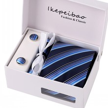 Ikepeibao New Blue Necktie Tie Set Handerchief Cufflinks Polyester Striped 8cm w Gift Box Packing for Mens Formal Business