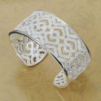 B166 Lose Money Wholesale 925 Silver Bangle Bracelet 925 Silver Fashion Jewelry Bracelet Inlaid Hearts Opened