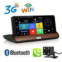 7 дюймов 3g Автомобильный видеорегистратор заднего вида Камера Android gps навигации Bluetooth FM WI FI Двойной объектив Cam видеомагнитофон видеорегистр