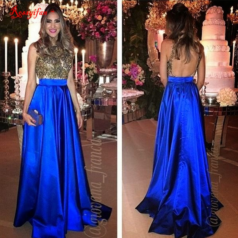 Long Elegant Evening Dress 2017 Charming Royal Blue Gold ...- photo #50