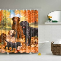 Pets Design Dog Family Custom Shower Curtain Bathroom Waterproof Mildewproof Polyester Fabric With No Toxic Multi