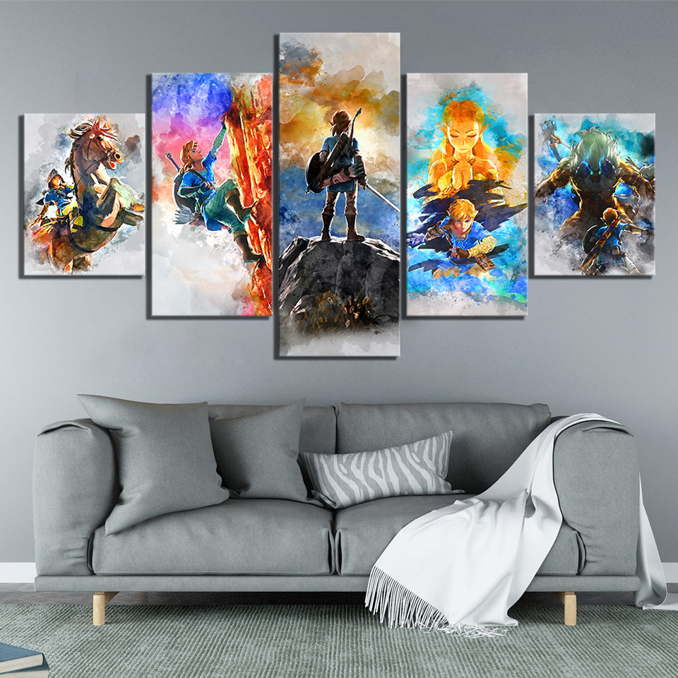 5 Piece Abstract Art Paintings The Legend of Zelda Breath of The Wild Video Games Poster Canvas Art Paintings for Wall Decor 3