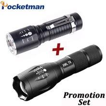 Lampe torche tactique étanche XML T6 Lumens, 5 Modes, lampe torche Portable avec chargeur de batterie 8000/AAA, 18650