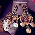 Fashion Show Big Brand D G Retro Baroque Queen earrings vintage dangle drop earrings for women new fashion jewelry
