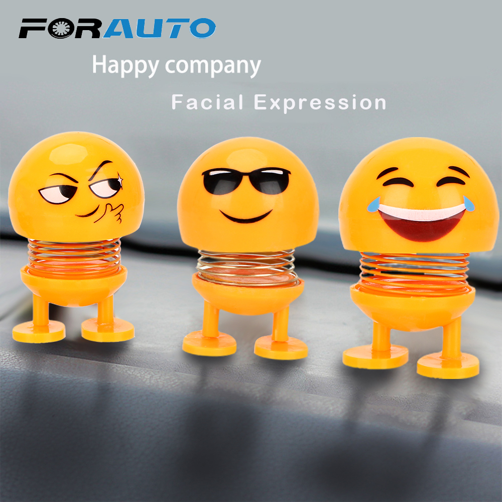 FORAUTO Car Ornaments Funny Spring Toy Interior Accessories Emoji Shaker Auto Decors Shaking Head Doll
