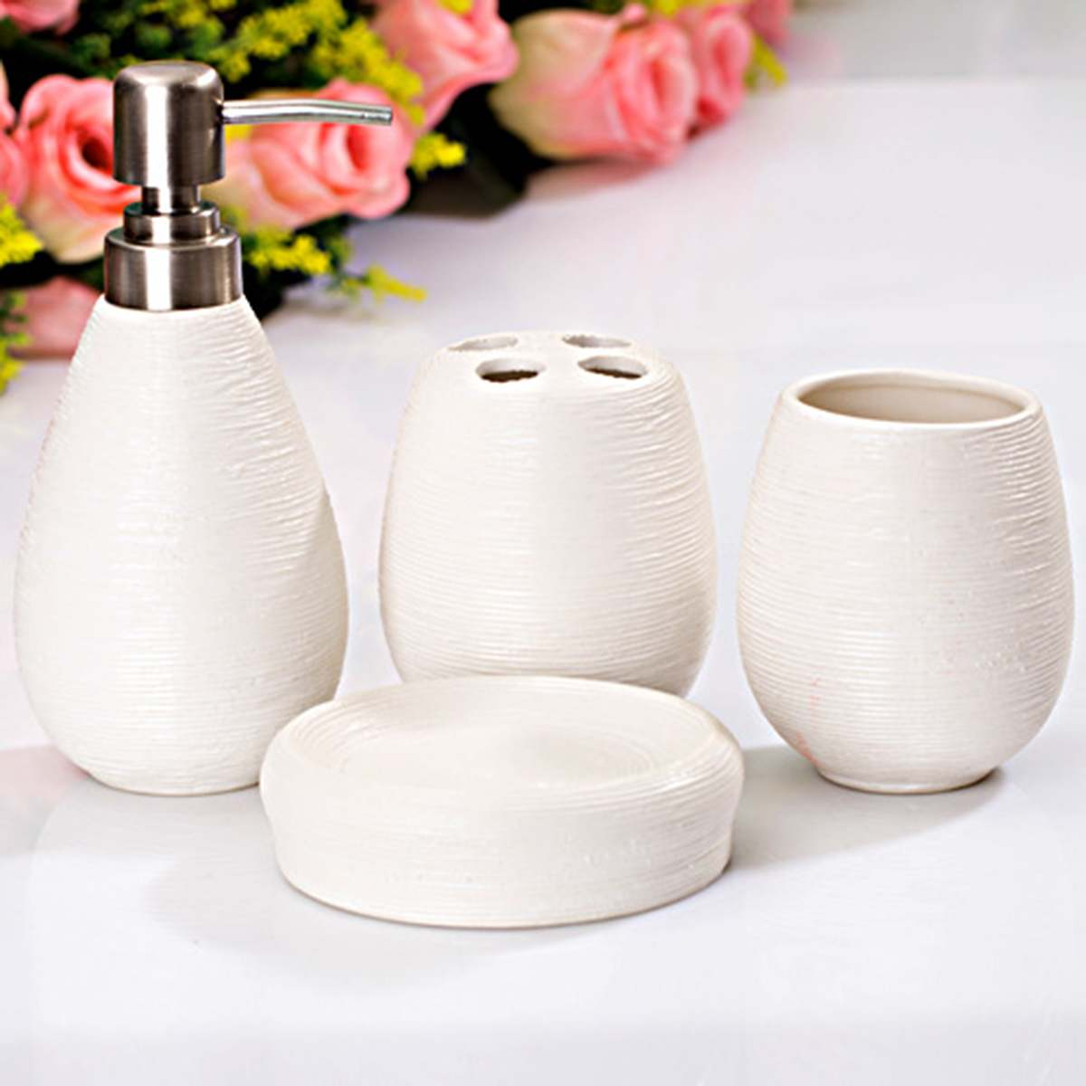 4Pcs/Set Ceramic Textural Bathroom Accessory Retro Lotion Dispenser Toothbrush Holder Cup Soap Dish Modern Toilet Home Decor image