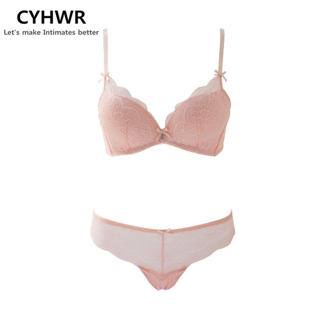 7df40ee7cc CYHWR Sweet Lace Adjustable with Bow Brassiere Lingerie Set Solid Push Up  Intimates Underwear