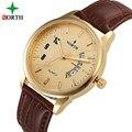 North hombres reloj de pulsera de moda casual de cuero genuino montre homme 30 m relojes impermeables hombre 2016 relojes de cuarzo de hombres de negocios