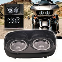 Dual 5.75 inch Projector LED Headlight For Road Glide Harley Davidson 04 13 With Full White Halo
