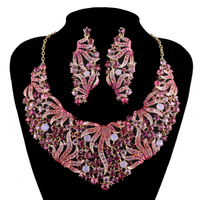 Luxury Bridal Jewelry Sets Wedding Necklace And Earring Set Pink Crystal Statement Jewelry Set For women Party Accessories