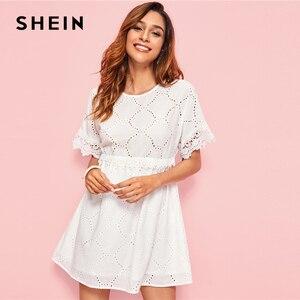 Image 4 - SHEIN White Guipure Lace Trim Schiffy Smock Boho Dress Women 2019 Summer Short Sleeve A Line Cute Mini Dresses For Ladies