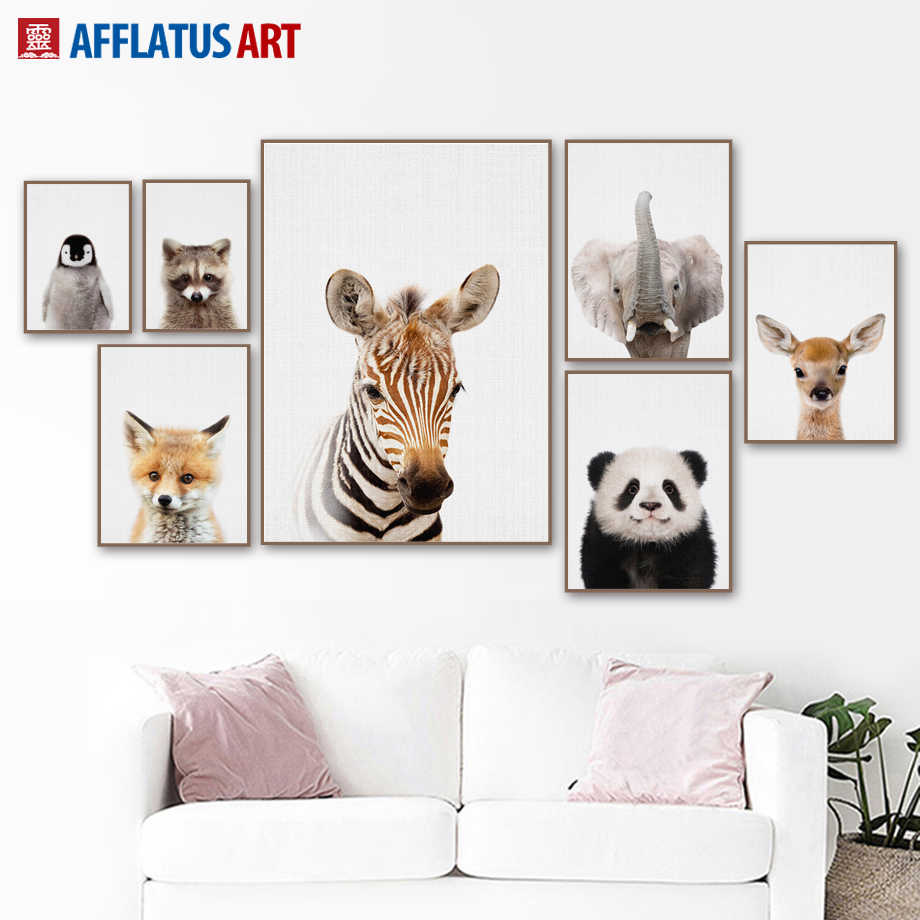 Cartoon Zebra Deer Elephant Fox Wall Art Print Canvas Painting Nordic Canvas Posters And Prints Wall Pictures Kids Room Quadro