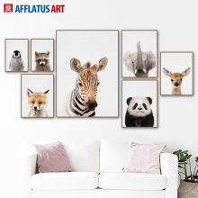 Cartoon Zebra Deer Elephant Fox Wall Art Print Canvas Painting Nordic Posters And Prints Pictures Kids Room Quadro