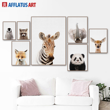 Wall Art Canvas Painting Plakatid ja trükised Zebra Deer Panda Põhjamaade plakati loomad Wall Pictures Nordic Style Kids Decoration