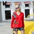 2017 mulheres primavera verão da marca das mulheres novas lapela algodão puro v cor solta assentamento camisa T-shirt das mulheres de longo manga impressão