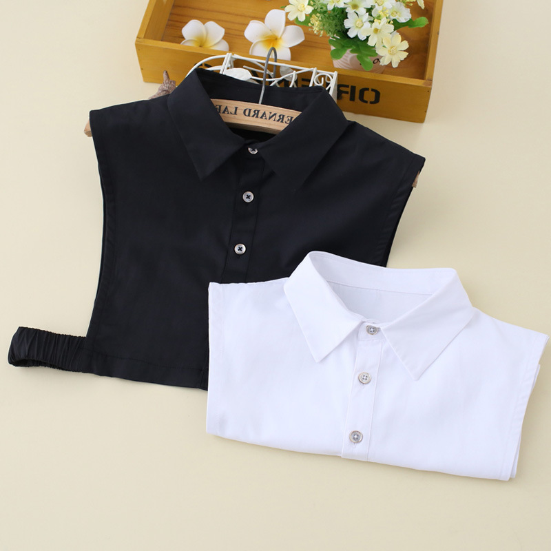 Cotton Korean Brocade Black And White Shirt Women Fake Collar Lady Shirt False Detachable Collar