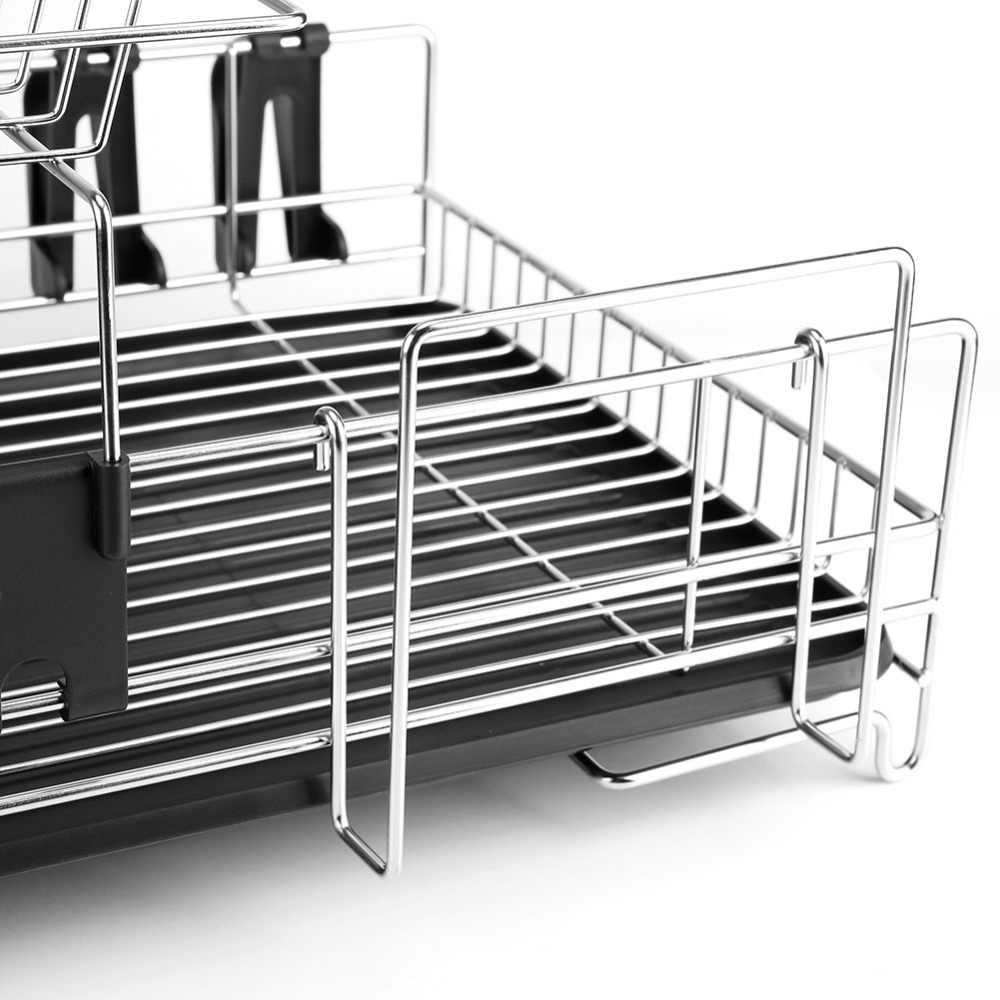ステンレス鋼 2 層キッチン食器乾燥ラック食器水切りプレートカップ排水トレイ収納ホルダーツールアクセサリー