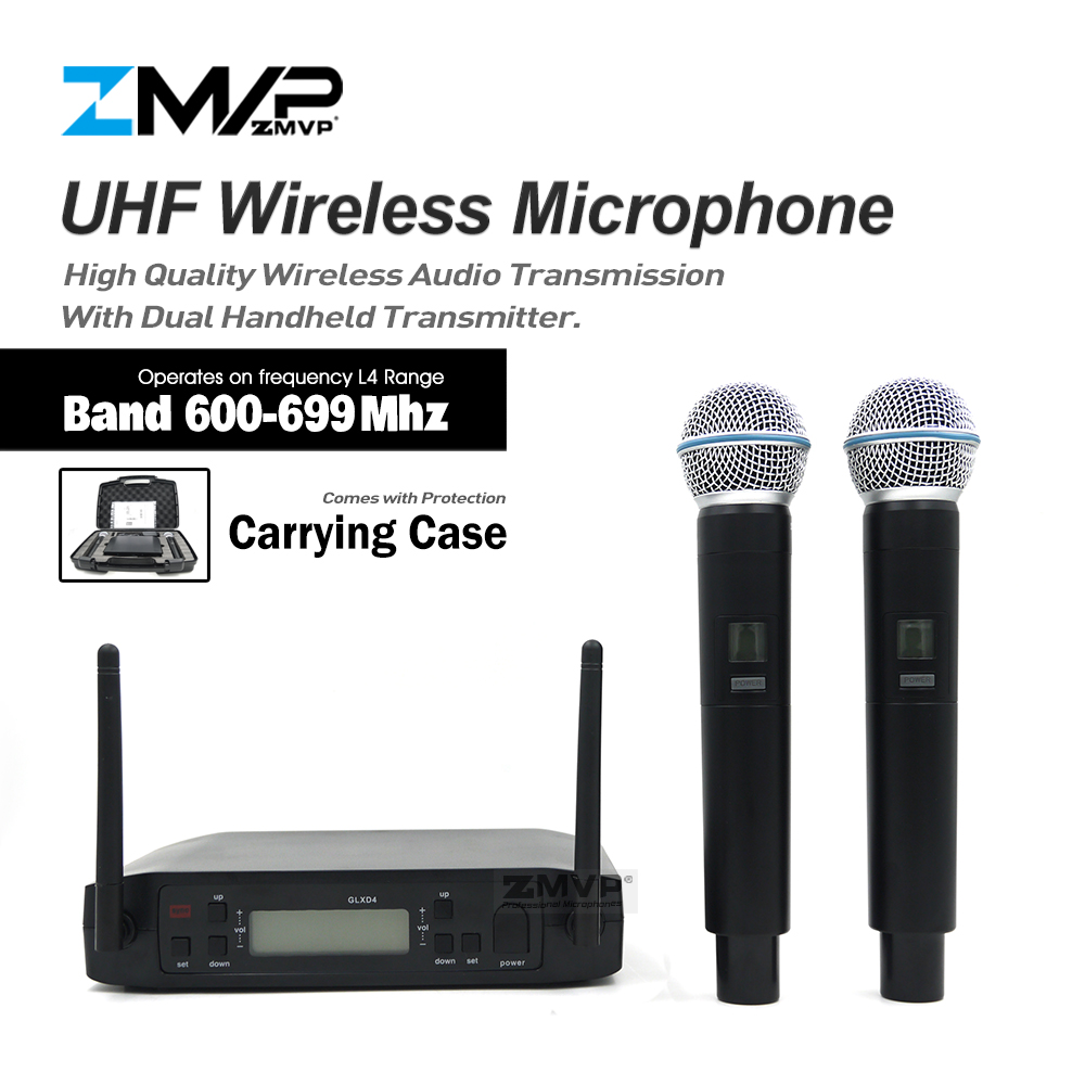 ZMVP Professional GLXD4 UHF Live Vocal Karaoke Wireless Microphone System With BETA58A Dual Handheld Transmitter Mic 600-699 Mhz