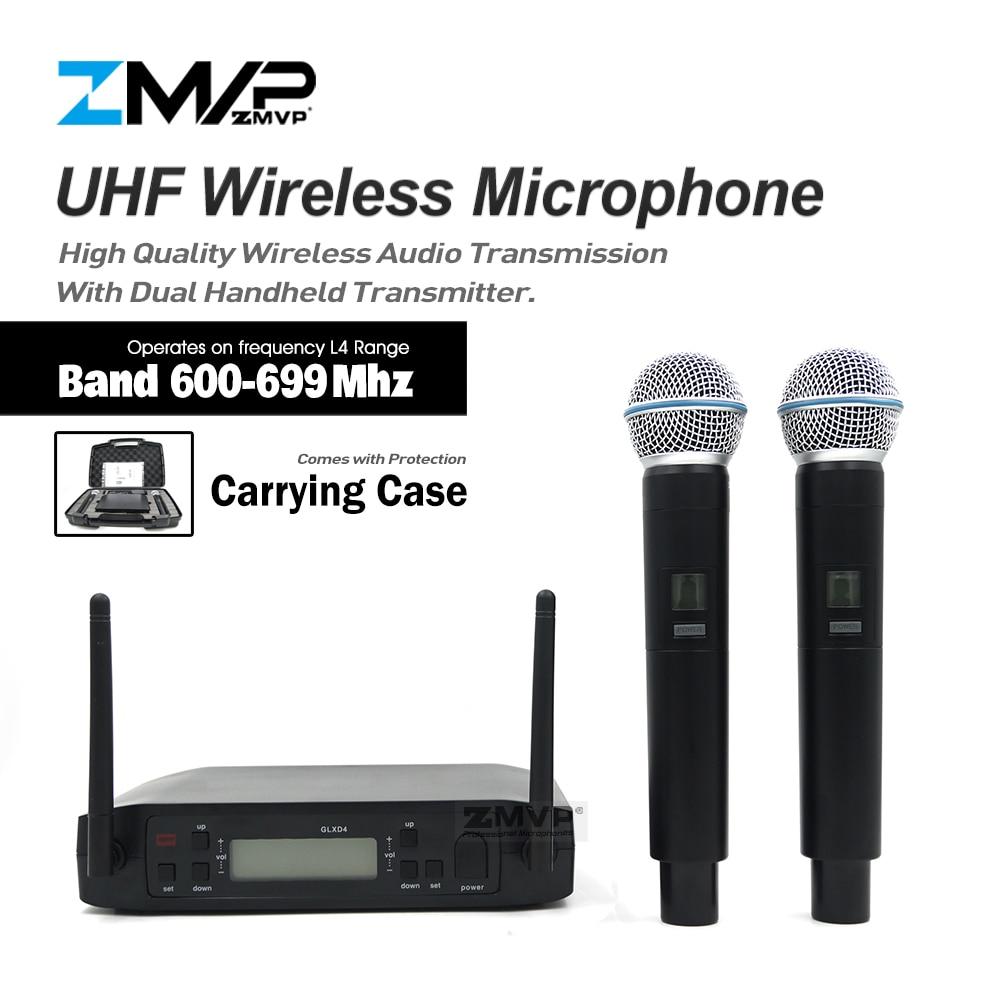 ZMVP Professionale GLXD4 UHF Live Vocale Karaoke Sistema per Microfono Wireless Con BETA58A Dual Trasmettitore a Mano Mic 600-699 Mhz