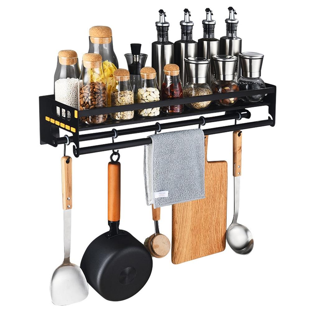 Black stainless steel seasoning shelf wall hanging kitchen rack spice rack storage storage pot rack bracket wx8281519