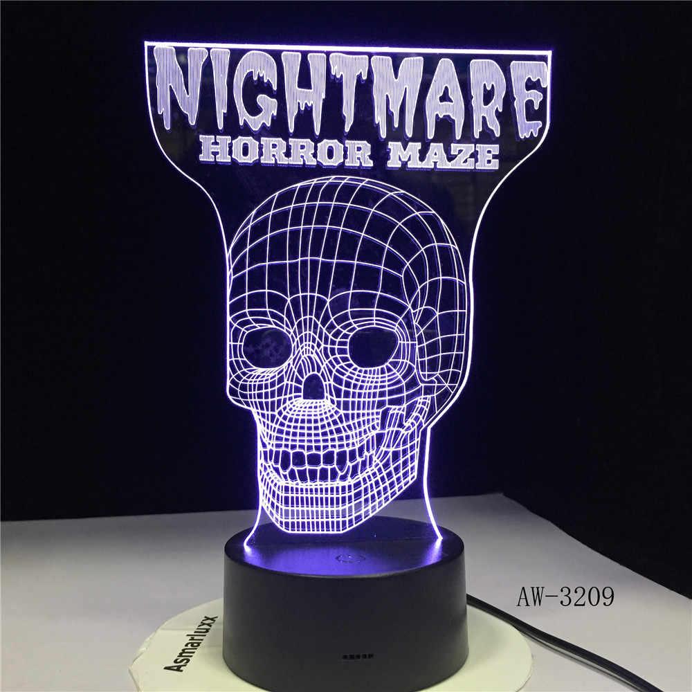 Кошмар Скелет религиозный Череп 3D Голограмма крест Иллюзия видение настольная лампа 7 цветов Сенсорный пульт ночник Подарки AW-3209