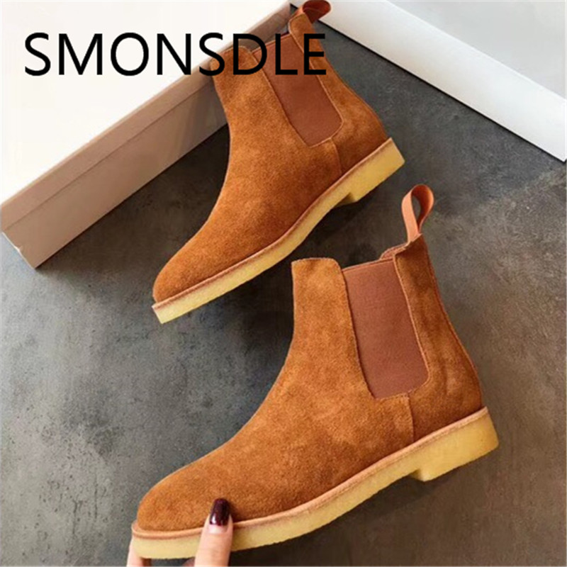 SMONSDLE 2018 New Casual Black Khaki Cow Suede Women Ankle Boots Round Toe Slip On Women Autumn Winter Short Boots Shoes Woman