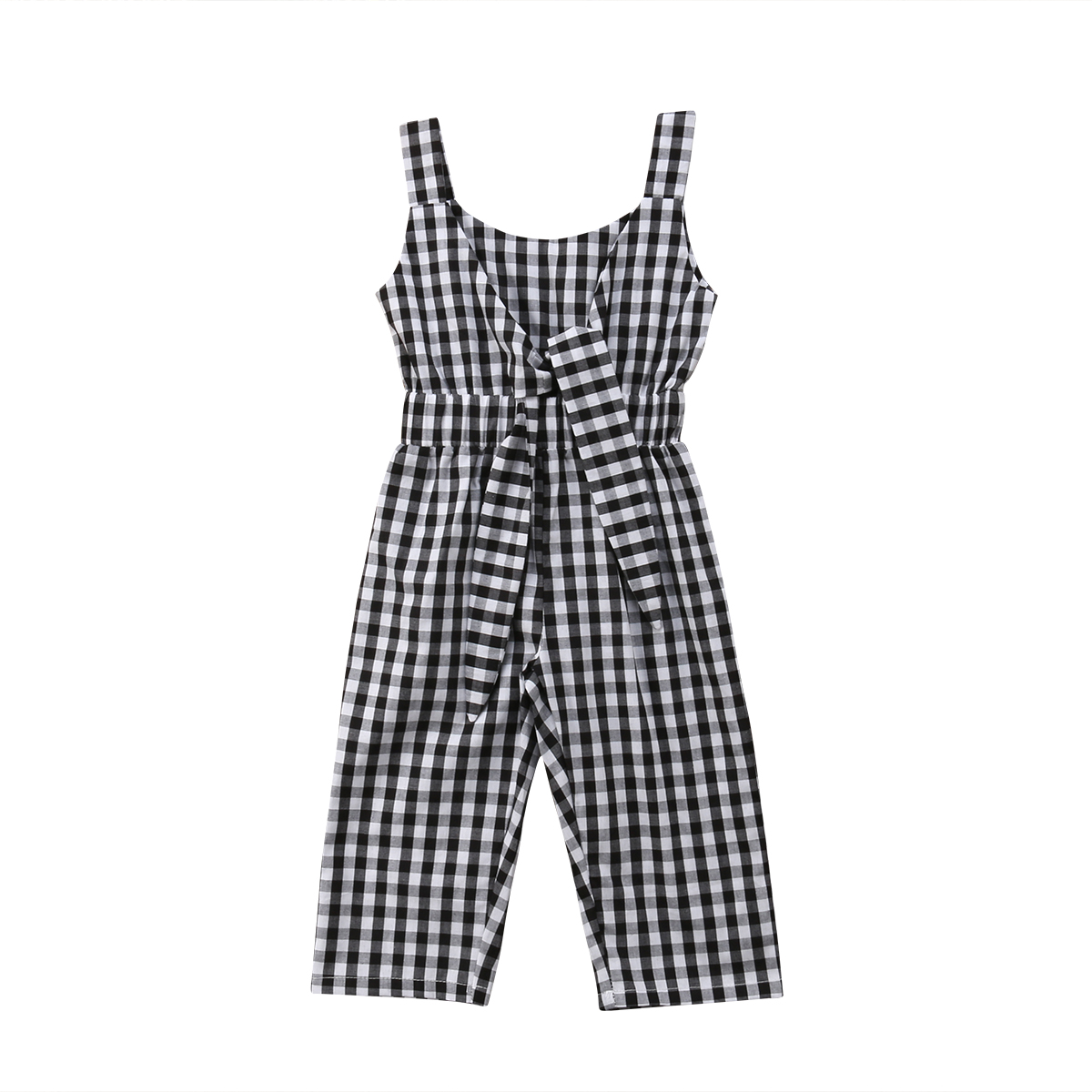 Baby Girls Romper Bodysuit Jumpsuit Plaids Overall Skirt Outfit Set
