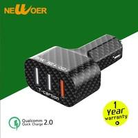 For Qualcomm Quick Charger QC 2 0 Fast Charge 3 Port Mini USB Carbon Fiber Car