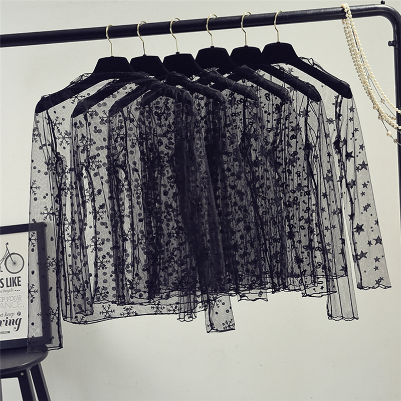 אביב קיץ נשים תחרה חולצות חולצה נשים חולצות סקסי mesh חולצות שקוף ארוך שרוול שחור דוט כוכבים פסים חולצה חולצה