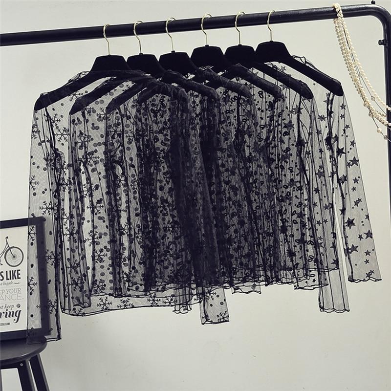 Mesh Top Women Sexy Sheer Fishnet See Through Transparent Top Lace Top Blouse Mesh Shirt Women Tops Mesh Blouses Black Shirt