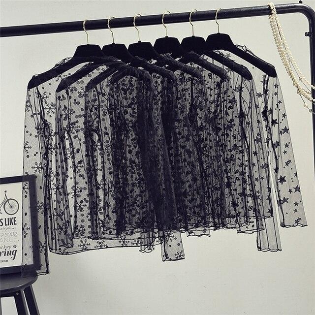 Primavera Verão Mulheres Blusas de Renda Da Camisa Mulheres encabeça Sensuais Blusas de malha See-through Manga Comprida Preto Dot Estrela Listrada camisa Blusa