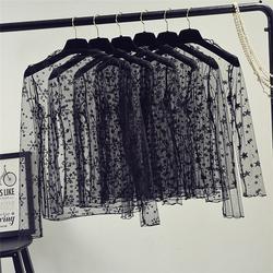 Весна лето женские кружевные блузки рубашки женские топы сексуальные сетчатые блузки Прозрачные с длинным рукавом черная точка звезда