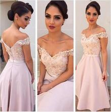 2016 Chiffon Lace Pink Short Bridesmaid Dress Off Shoulder Satin Knee Length Maid Of Honor Dress Cheap Wedding Party Gowns BD17