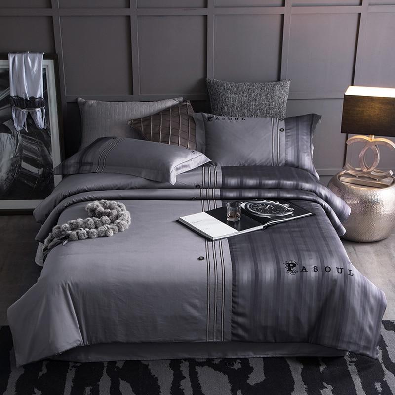 Grey Brown Color Stripe Modern Bedding Sets Queen King Size Bed Sheet Set Cotton Satin Pillowcase Duvet Cover Set Bedlinen