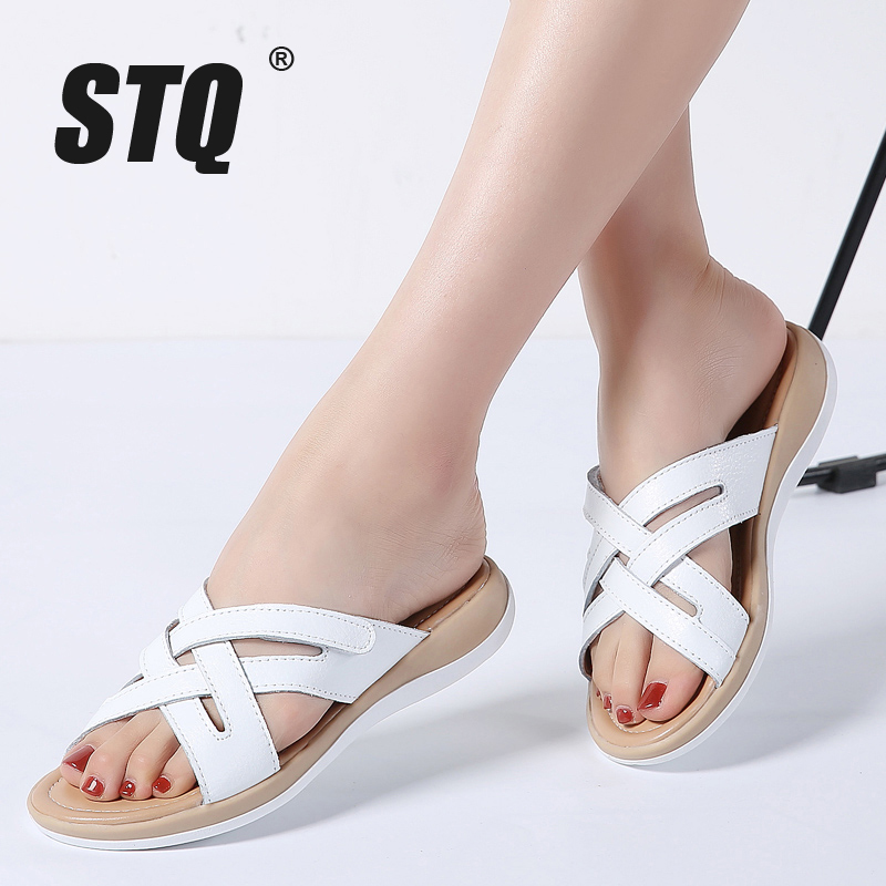 STQ 2019 Summer Women Slippers Slip On Round Toe Flat Slides Sandals Women White Black Leather Slippers Flip Flops Slippers 1806
