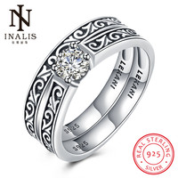INALIS Elegant 925 Sterling Silver Rings Round Ring For Women Fashion Wedding Jewelry Party Accessories