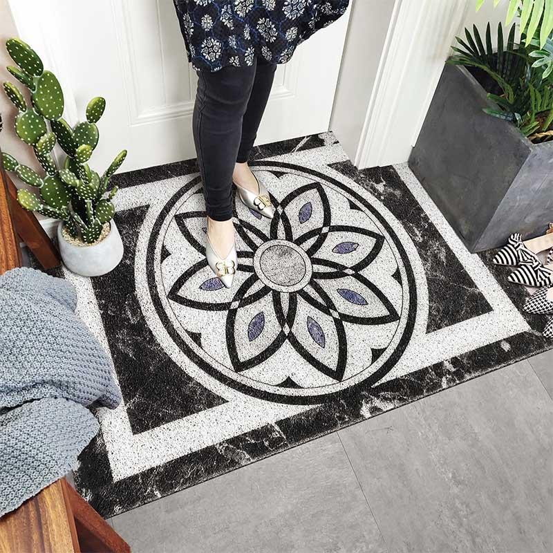 PVC soie boucle anti-poussière tapis de pied Mandala fleur impression paillasson chaussures grattoir pour porte d'entrée de bain à l'extérieur tapis antidérapant