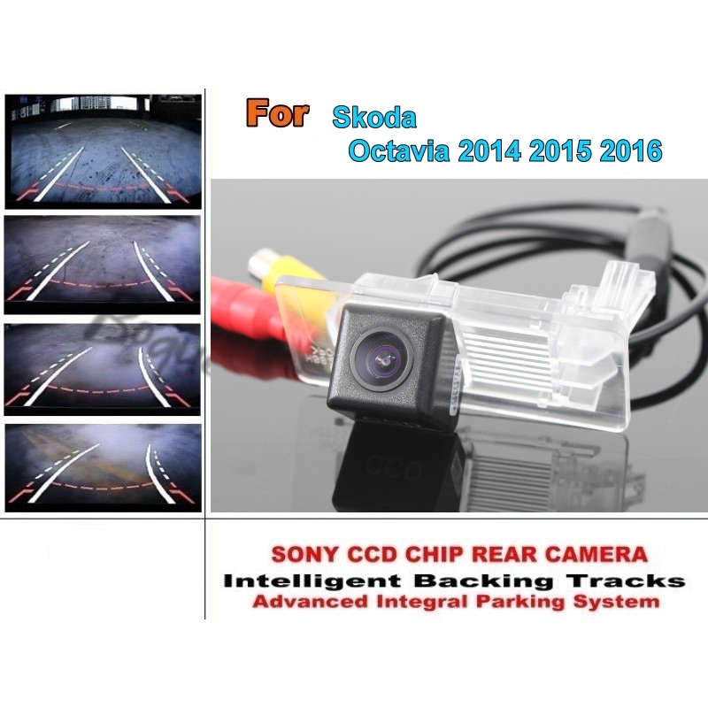 Car Intelligent Parking Tracks Camera / For Skoda Octavia 2014 2015 2016 HD Back up Dynamic Tragectory Camera / Rear View Camera for mazda 6 mazda6 atenza 2014 2015 ccd car backup parking camera intelligent tracks dynamic guidance rear view camera