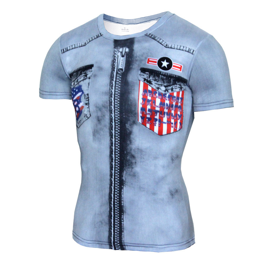 3D T Shirts Short Sleeve for Men Fake Two Pieces Creative Design Jean Tops Tees Hip Hop Style Print Strange Things Male Clothing
