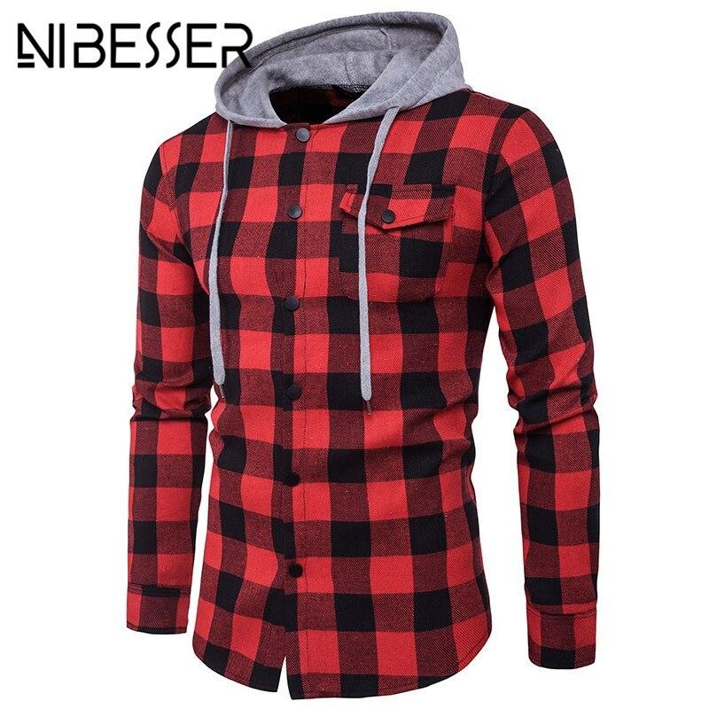 NIBESSER Casual Shirts Men Plaid Print Long Sleeve male shirt Blouse Brand hoody patchwork Blusa Tops Shirts Camisa Masculina