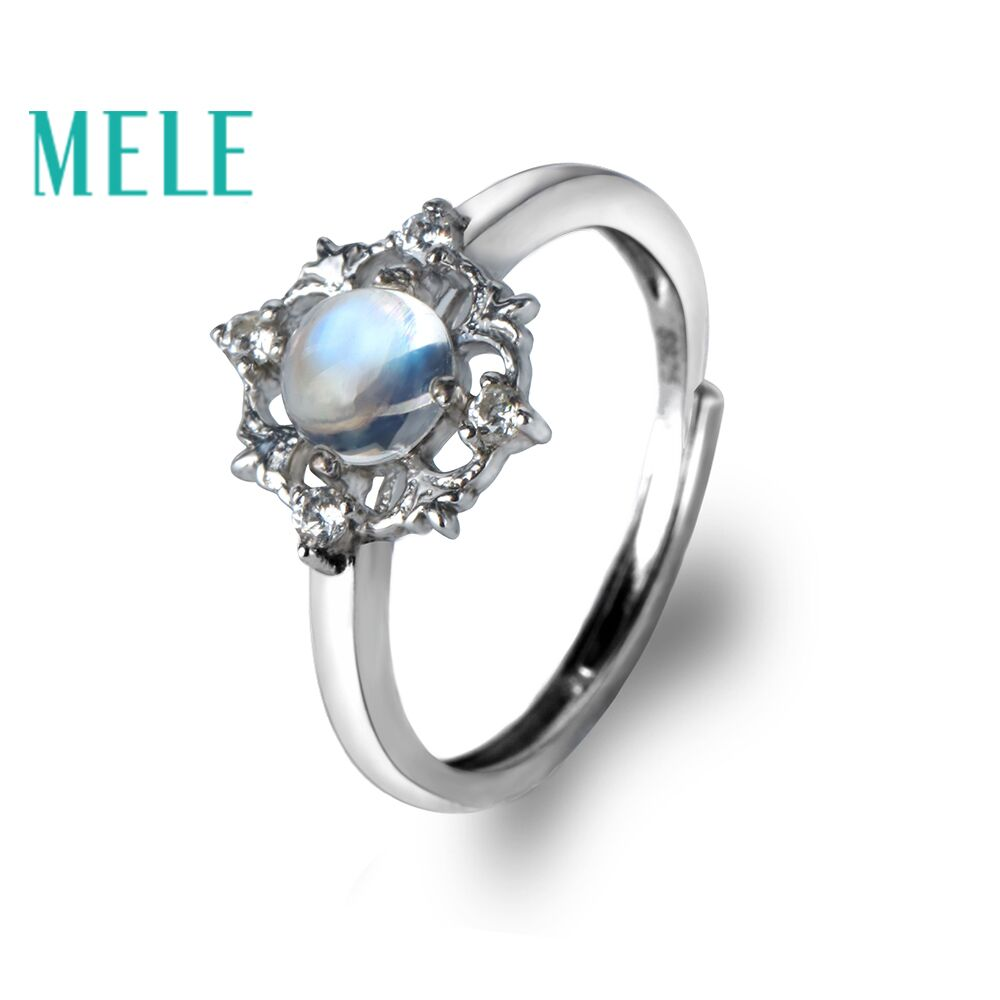Natural blue moonstone 925 sterling silver rings for women and girls,Fashion lace trendy and simple gems jewelry