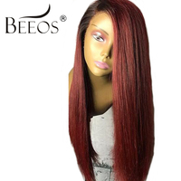 BEEOS 150% Red Ombre Human Hair Wigs For Women Brazilian Remy Human Lace Front Wigs With Baby Hair Bleached Knots Pre Plucked