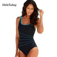HolaSukey One Pieces Women Swimwear Solid Sports Striped Swimsuit Female Sports Bodysuits Summer Brazilian Bathing Suit