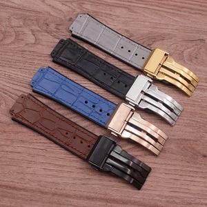 Image 5 - Accessoires de montre en cuir de haute qualité 25 * mm 19mm bracelet en caoutchouc boucle papillon pour bracelet Hublot bracelet de montre pour femme pour hommes