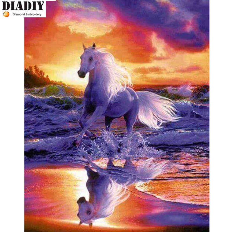 """מלא כיכר & round 5D יהלומי ציור יהלומי DIY """"סוס לבן"""" תפר צלב רקמת ריינסטון פסיפס ציור דקור"""