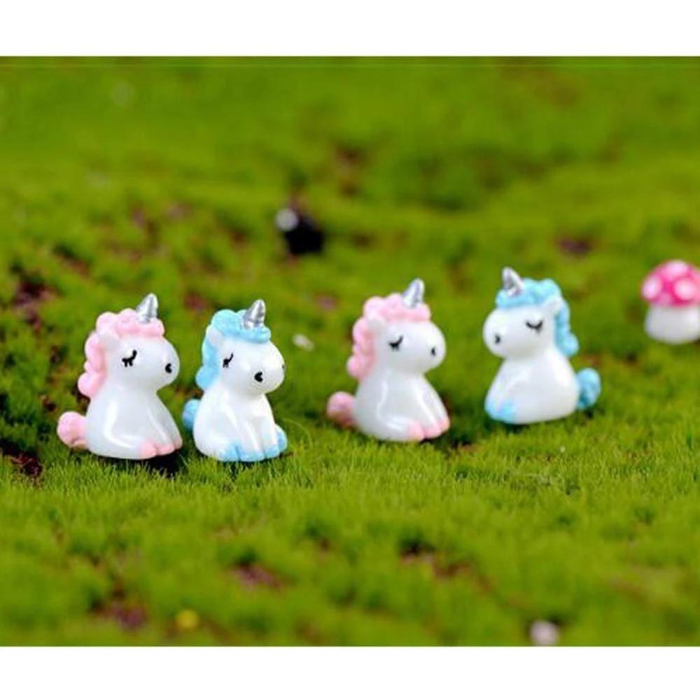 2pcs Resin Unicorn Figurines Unicorn Figure Model Fairy Garden Supplies Pink