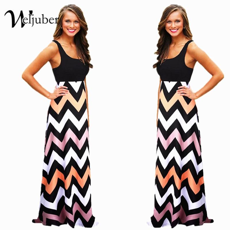 Women Summer Maxi Dress 2018 High Quality Striped Print Long Boho Dresses Feminine Plus Size Vestido De Festa