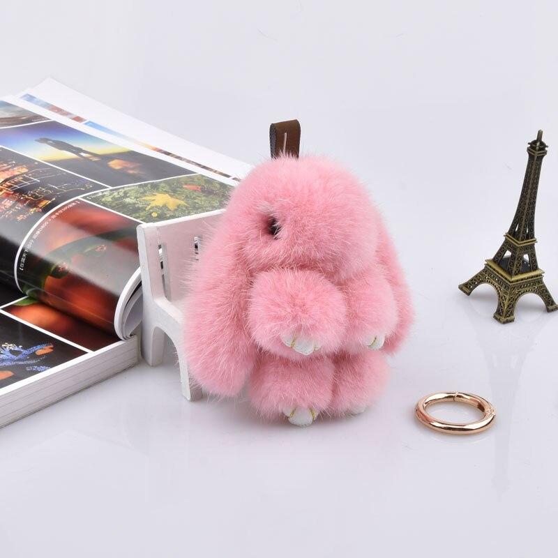 14 cm mignon Pluff lapin porte-clés 15 cm réel véritable vison fourrure porte-clés femmes chaud sac jouets poupée moelleux Pom Pom beau porte-clés